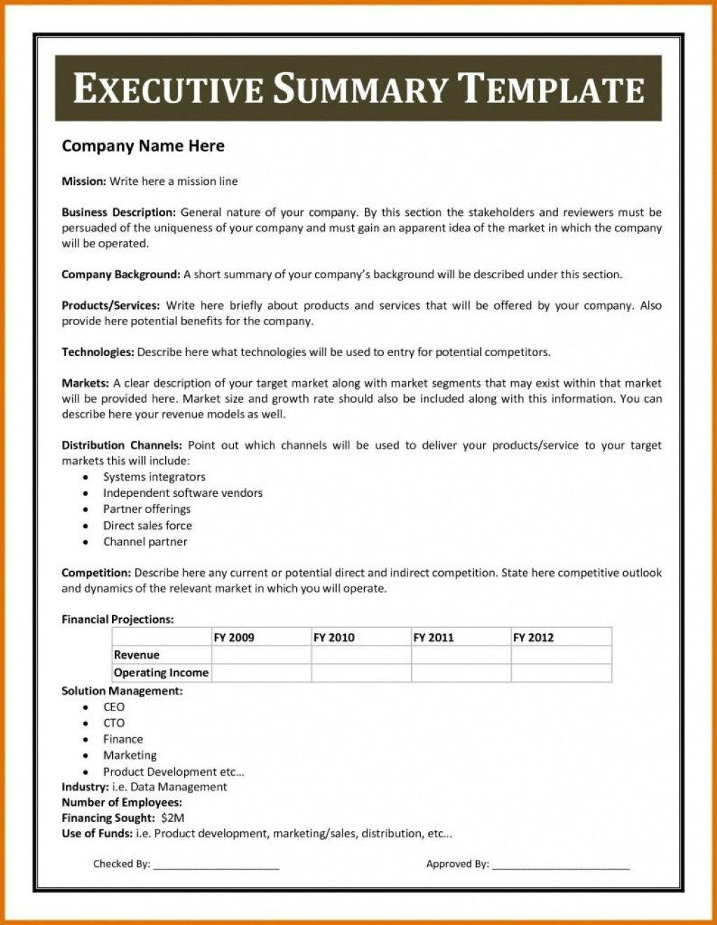 010 Wondrou Executive Summary Word Template Free Download Concept Large