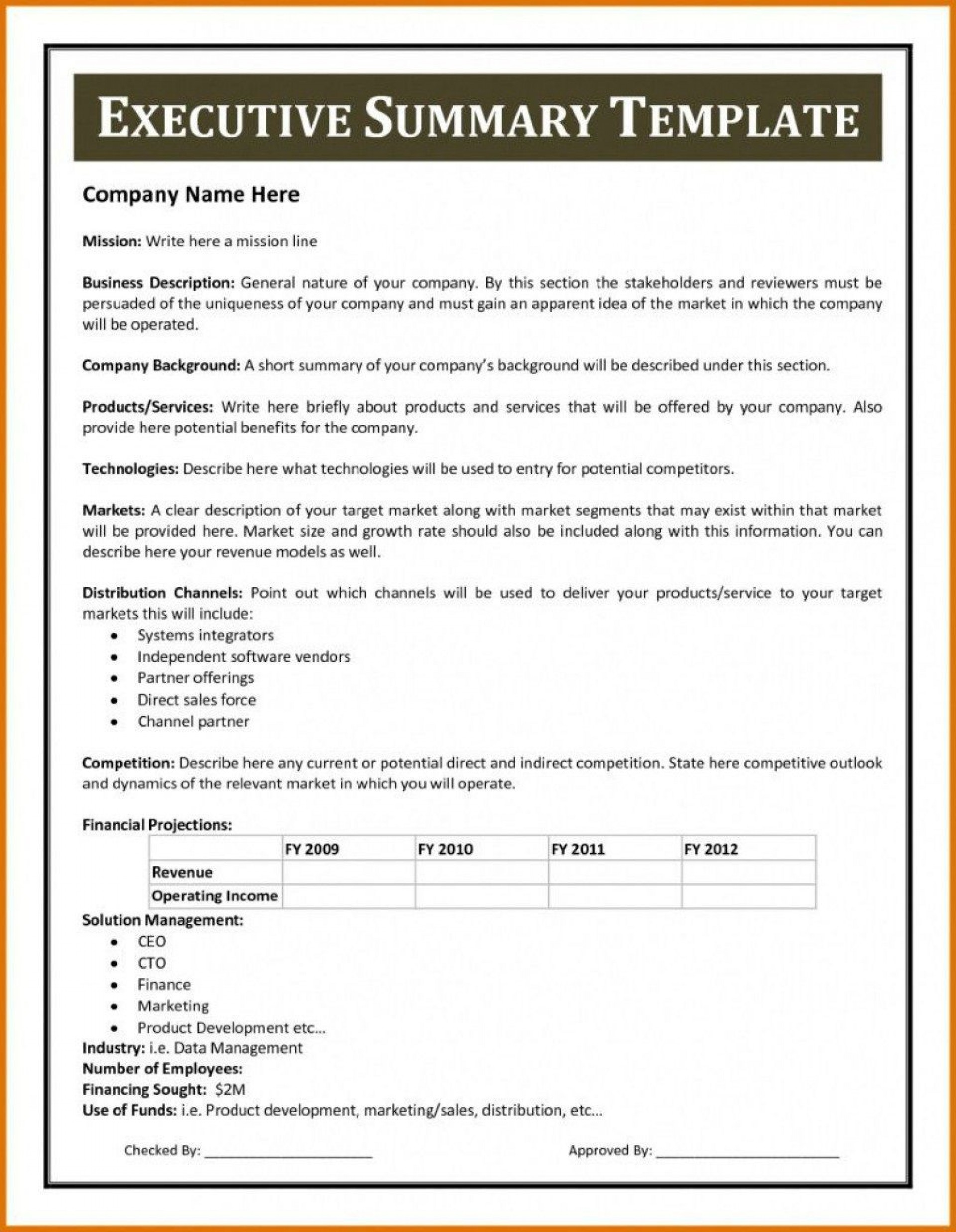010 Wondrou Executive Summary Word Template Free Download Concept 1920