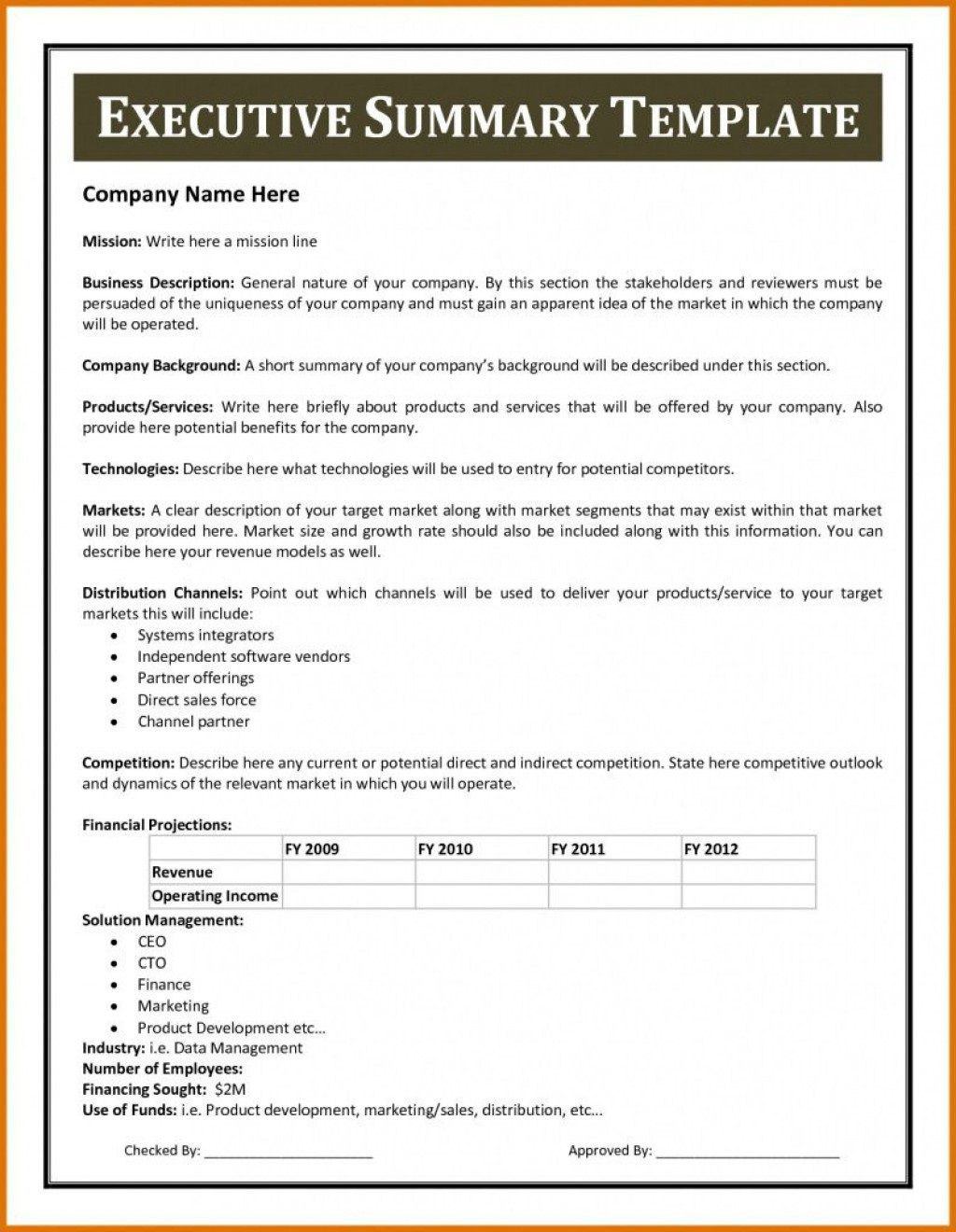 010 Wondrou Executive Summary Word Template Free Download Concept Full