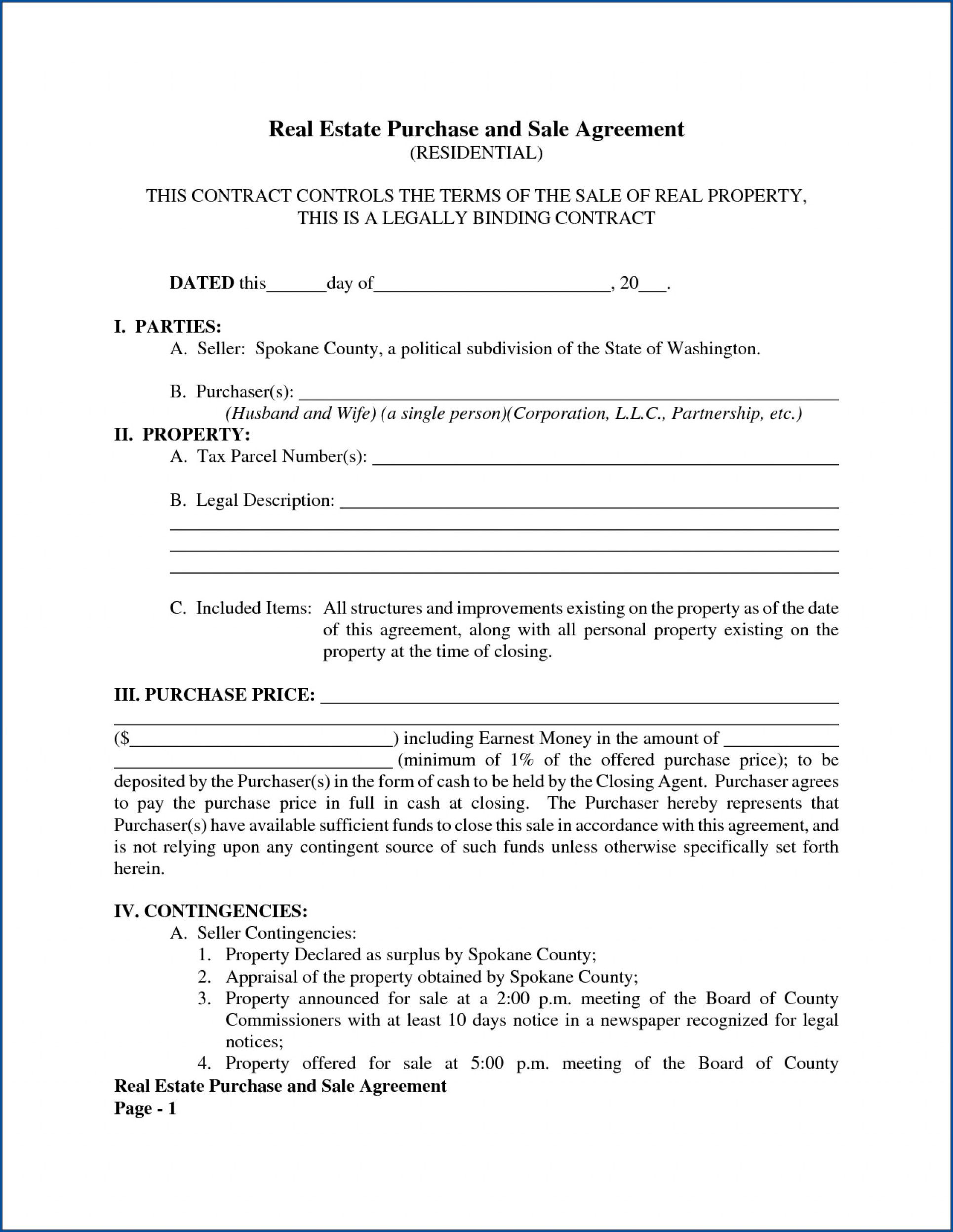 011 Awesome Free Home Purchase Contract Template Inspiration Full