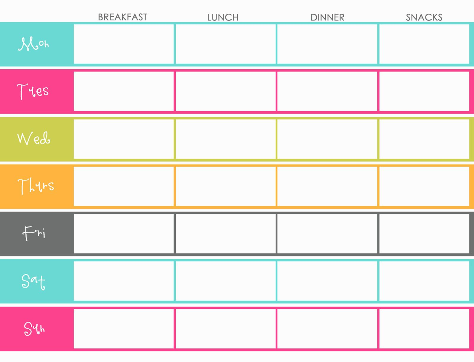 011 Awful Meal Plan Calendar Template Design  Excel Weekly 30 DayFull