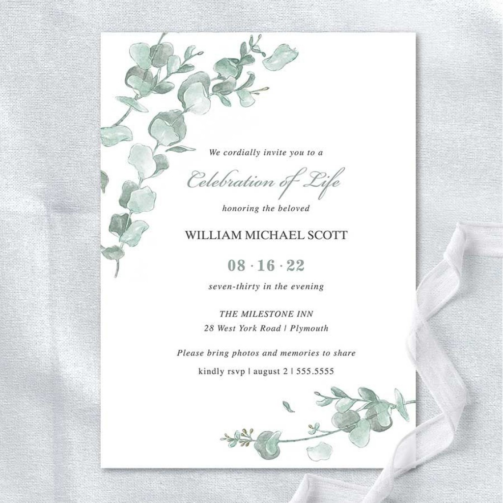 011 Beautiful Funeral Invitation Template Free Sample  Memorial Service Card ReceptionLarge