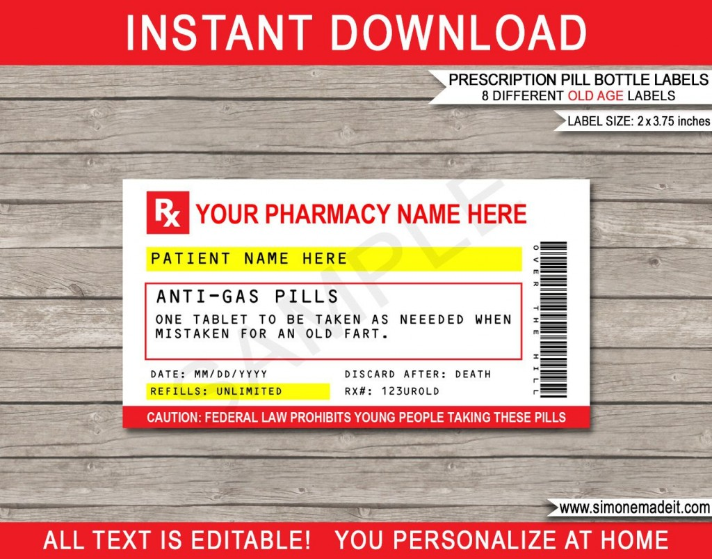 011 Dreaded Pill Bottle Label Template Example  Vintage Medicine Printable FreeLarge