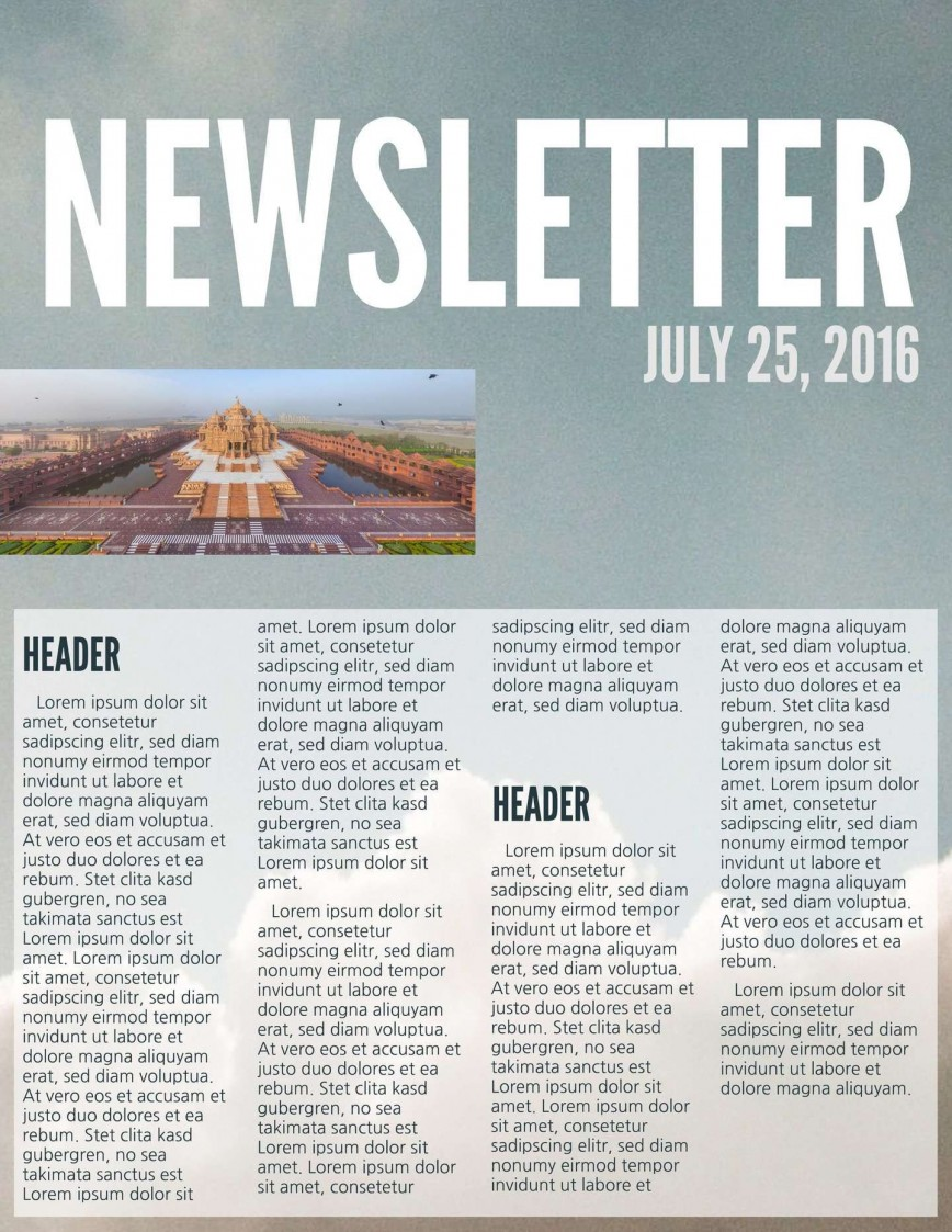 Printable Newsletter Template Free Addictionary