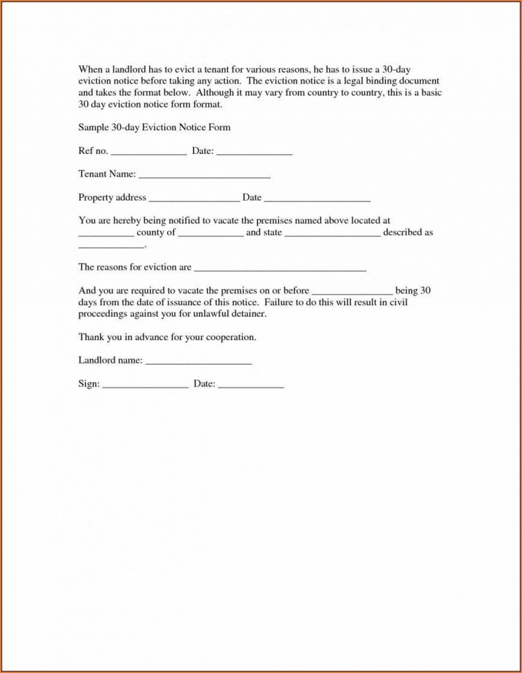 011 Fascinating 30 Day Eviction Notice Template High Def  Pdf FormLarge