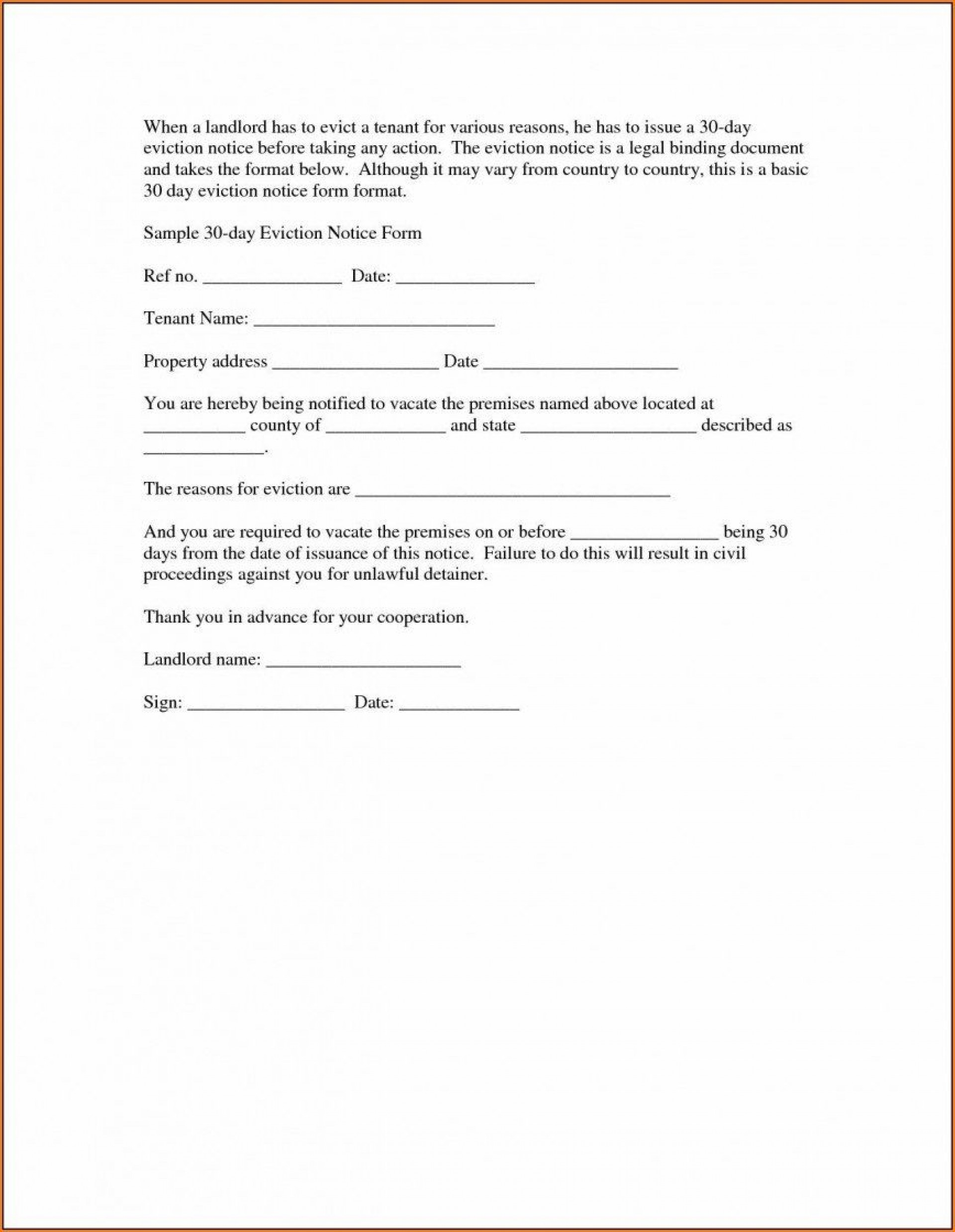 011 Fascinating 30 Day Eviction Notice Template High Def  Pdf Form1920