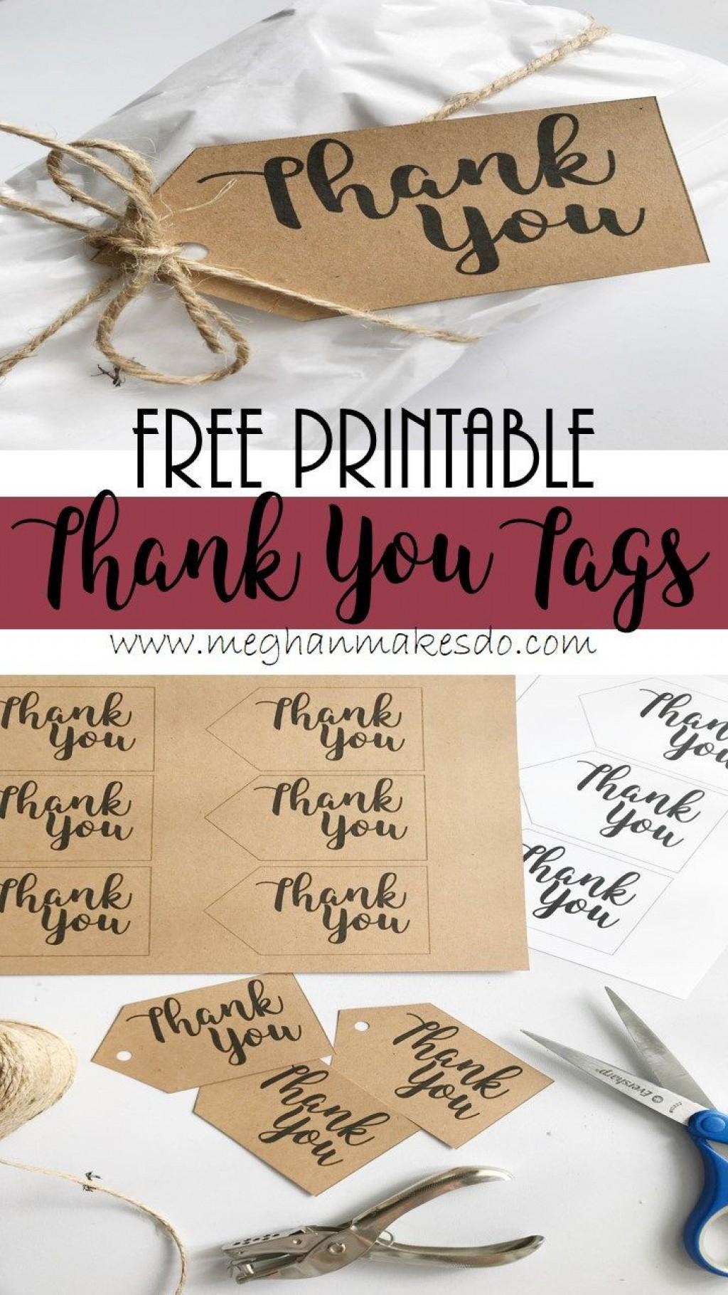 011 Fascinating Free Printable Thank You Gift Tag Template Sample  TemplatesLarge