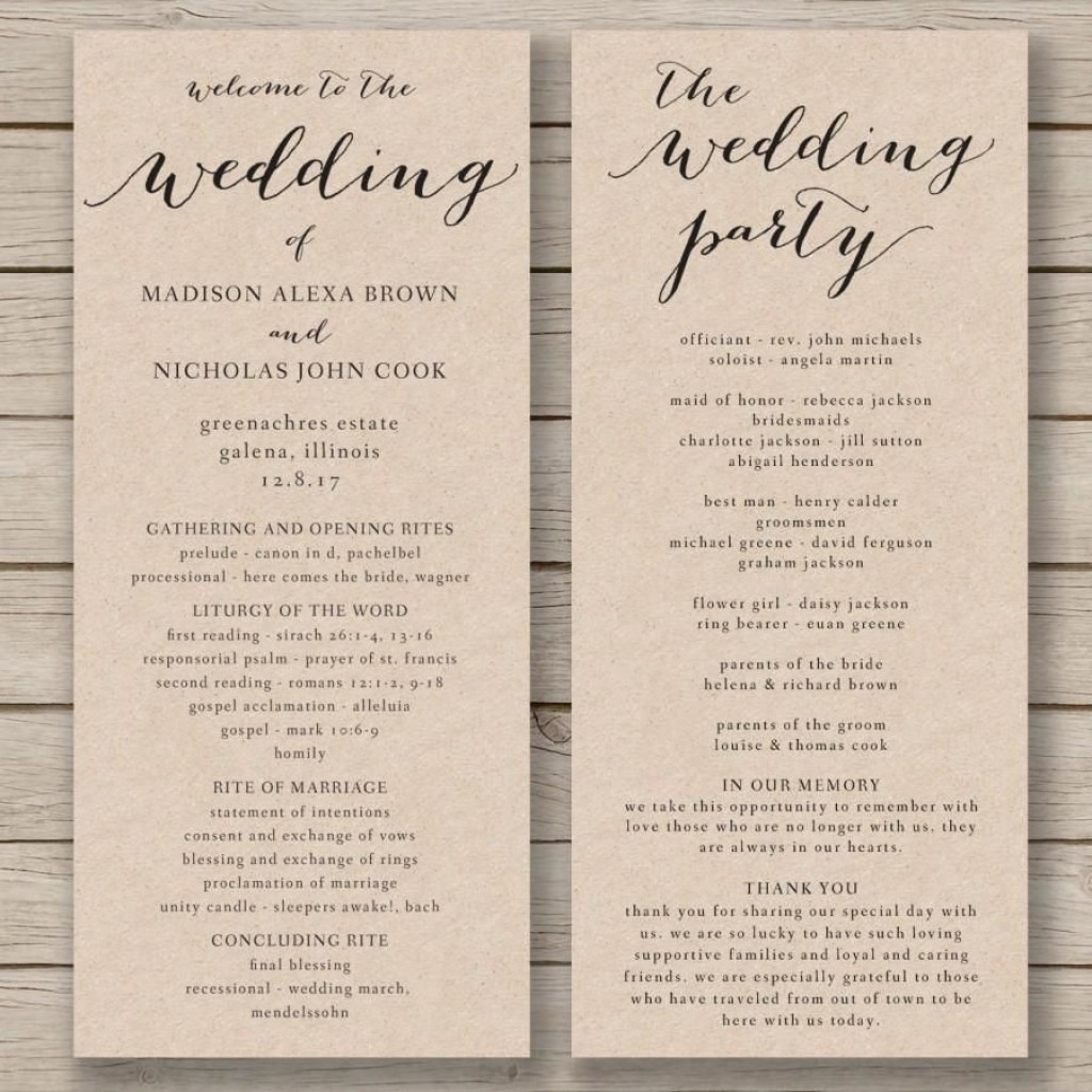 011 Fascinating Free Wedding Order Of Service Template Word Concept  MicrosoftLarge