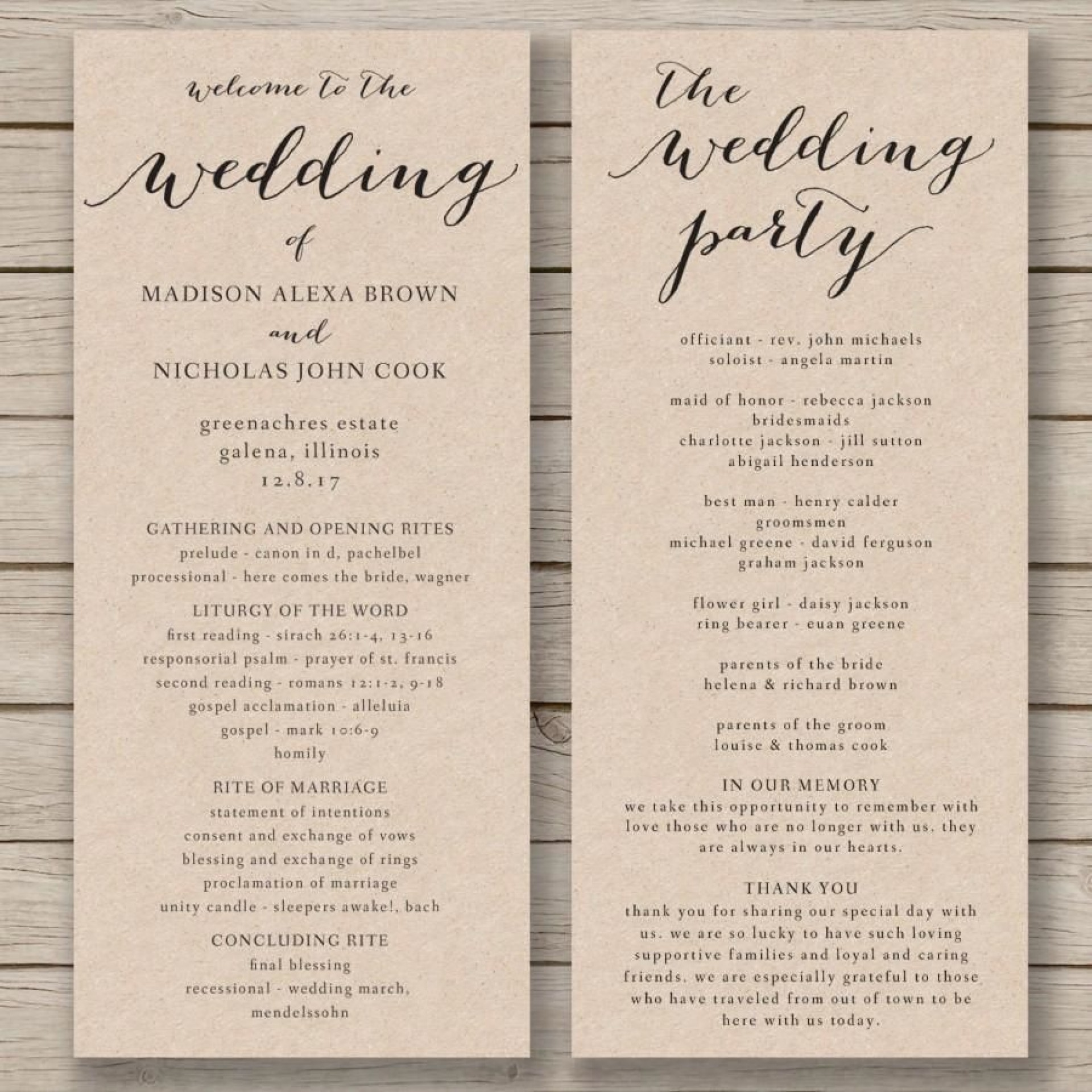 011 Fascinating Free Wedding Order Of Service Template Word Concept  Microsoft1920