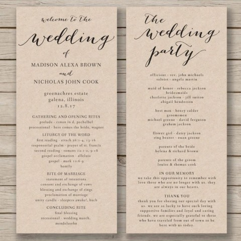 011 Fascinating Free Wedding Order Of Service Template Word Concept  Microsoft480