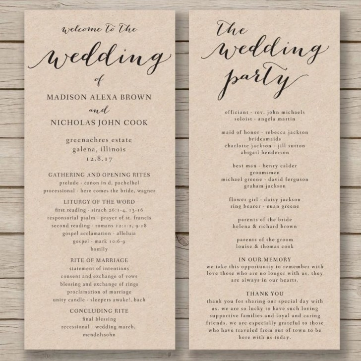 011 Fascinating Free Wedding Order Of Service Template Word Concept  Microsoft728
