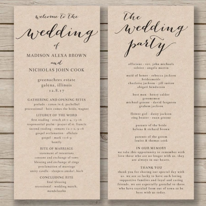 011 Fascinating Free Wedding Order Of Service Template Word Concept  Microsoft868