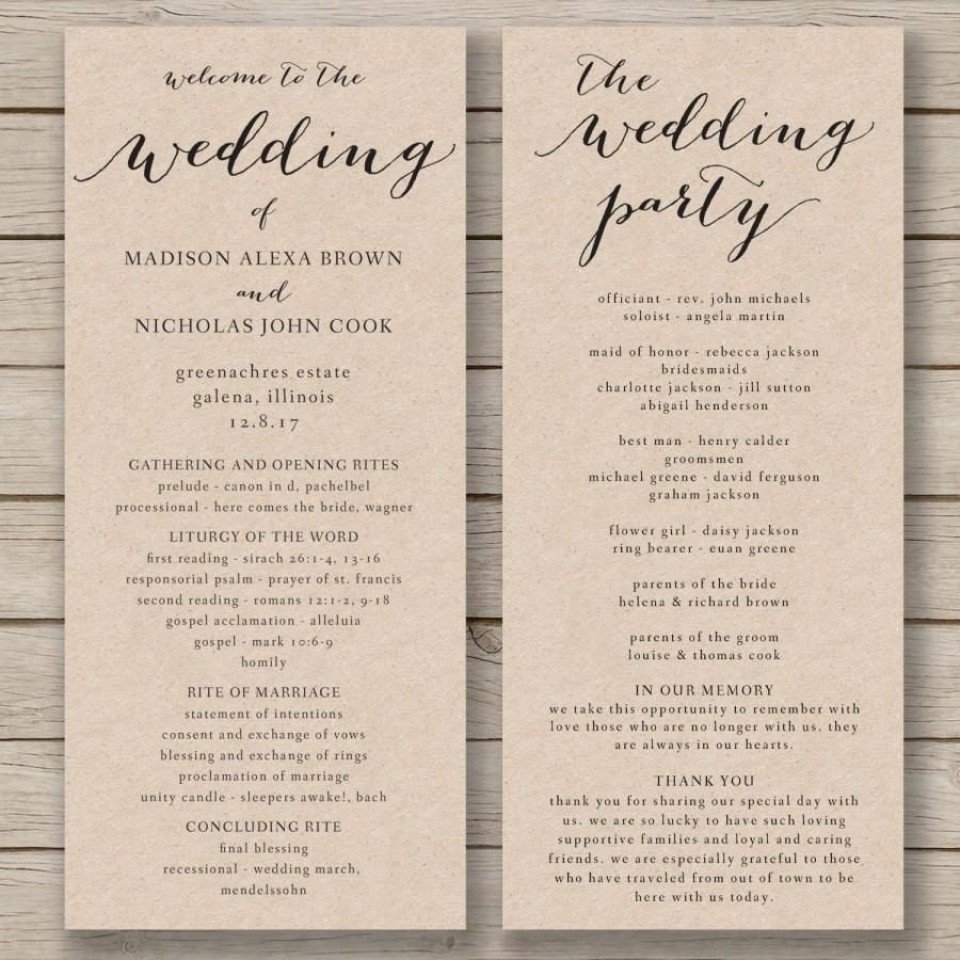 011 Fascinating Free Wedding Order Of Service Template Word Concept  Microsoft960