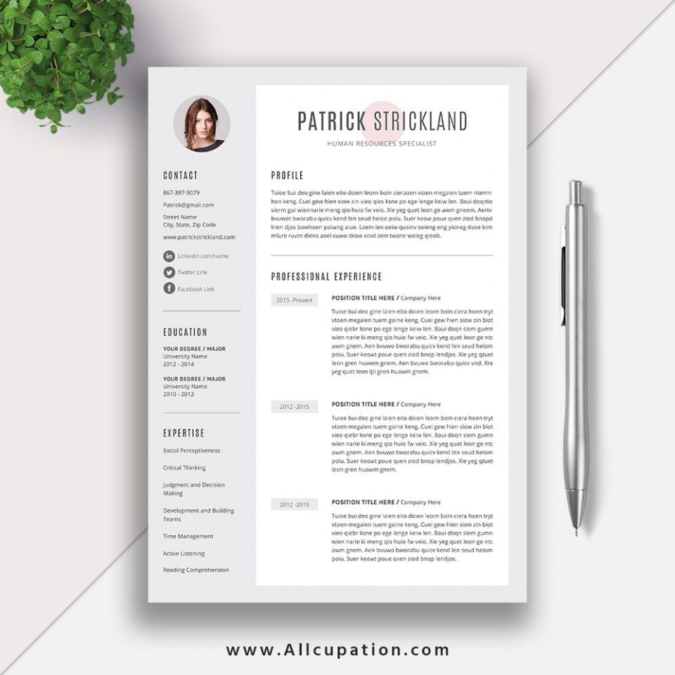 011 Frightening 1 Page Resume Template Photo  One Microsoft Word Free For Fresher960