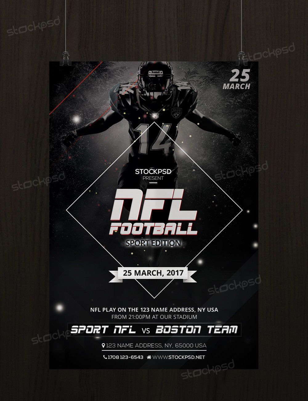 011 Impressive Football Flyer Template Free Sample  Download Flag PartyFull
