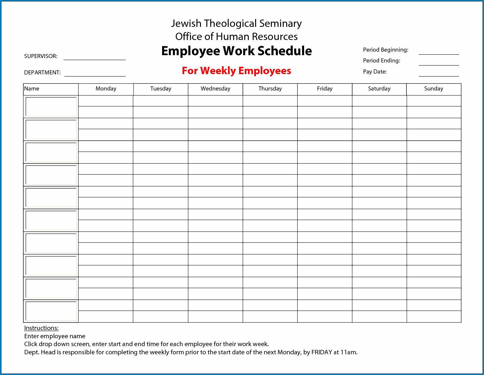 011 Impressive Hourly Work Schedule Template Word Idea Full