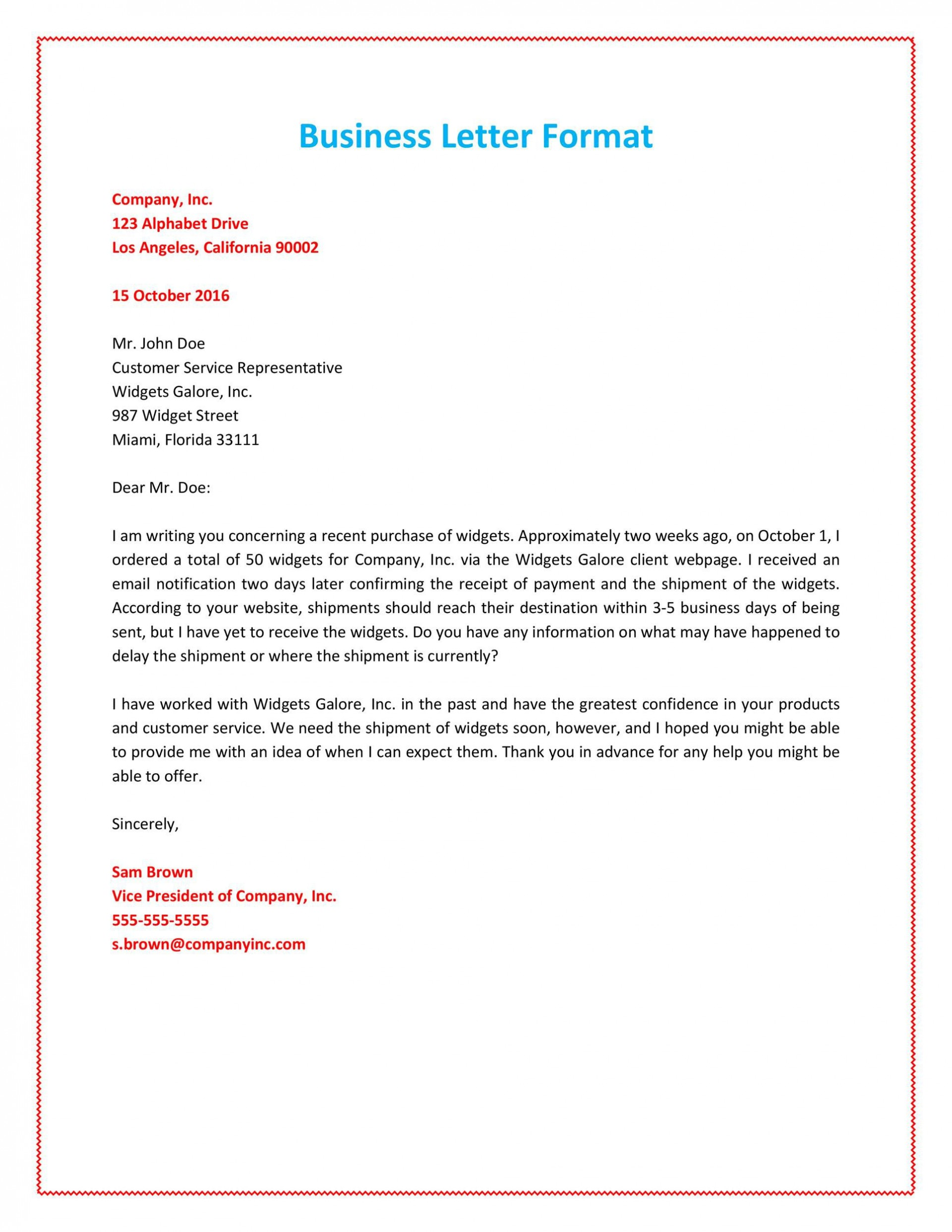 011 Marvelou Busines Letter Template Word Sample  Cover Free1920