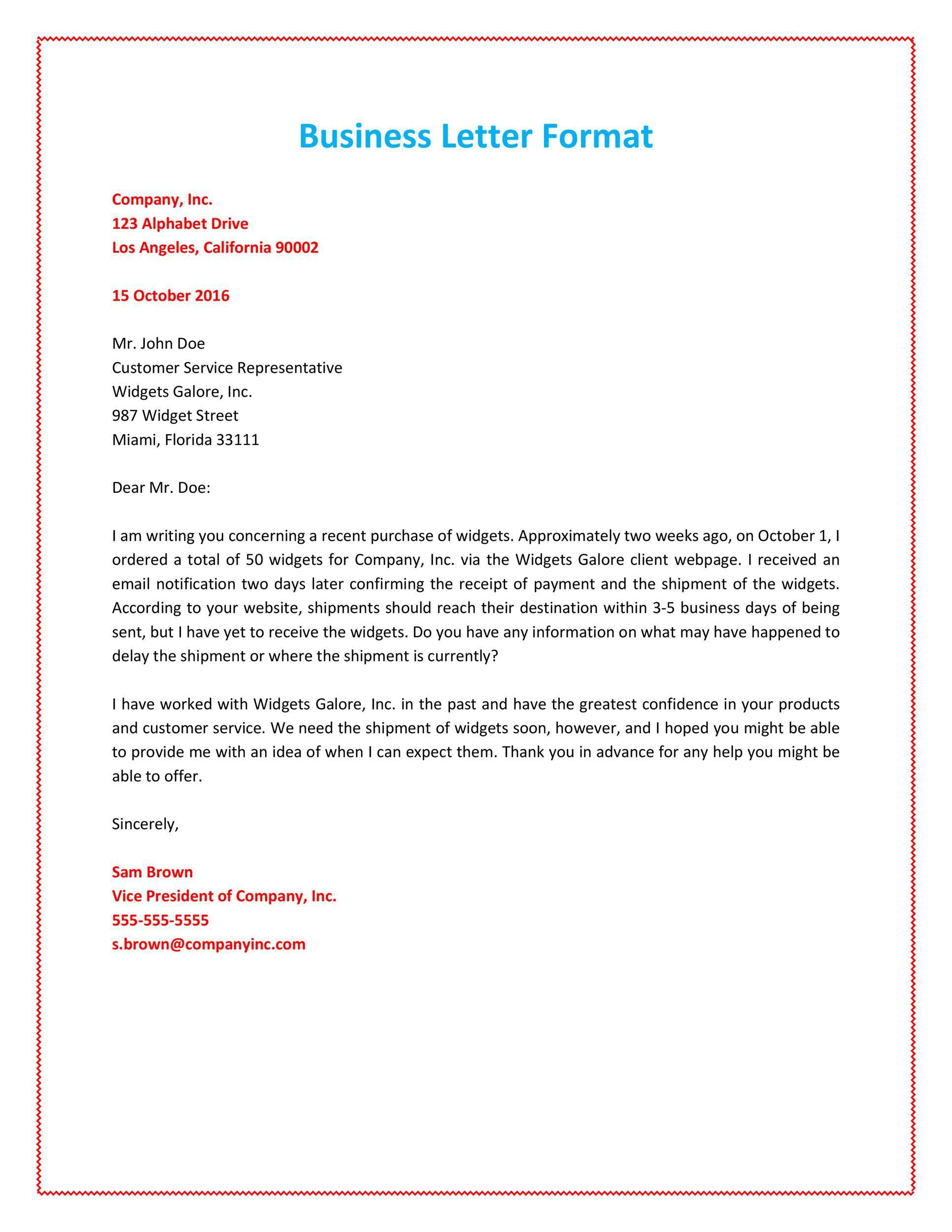 011 Marvelou Busines Letter Template Word Sample  Cover FreeFull