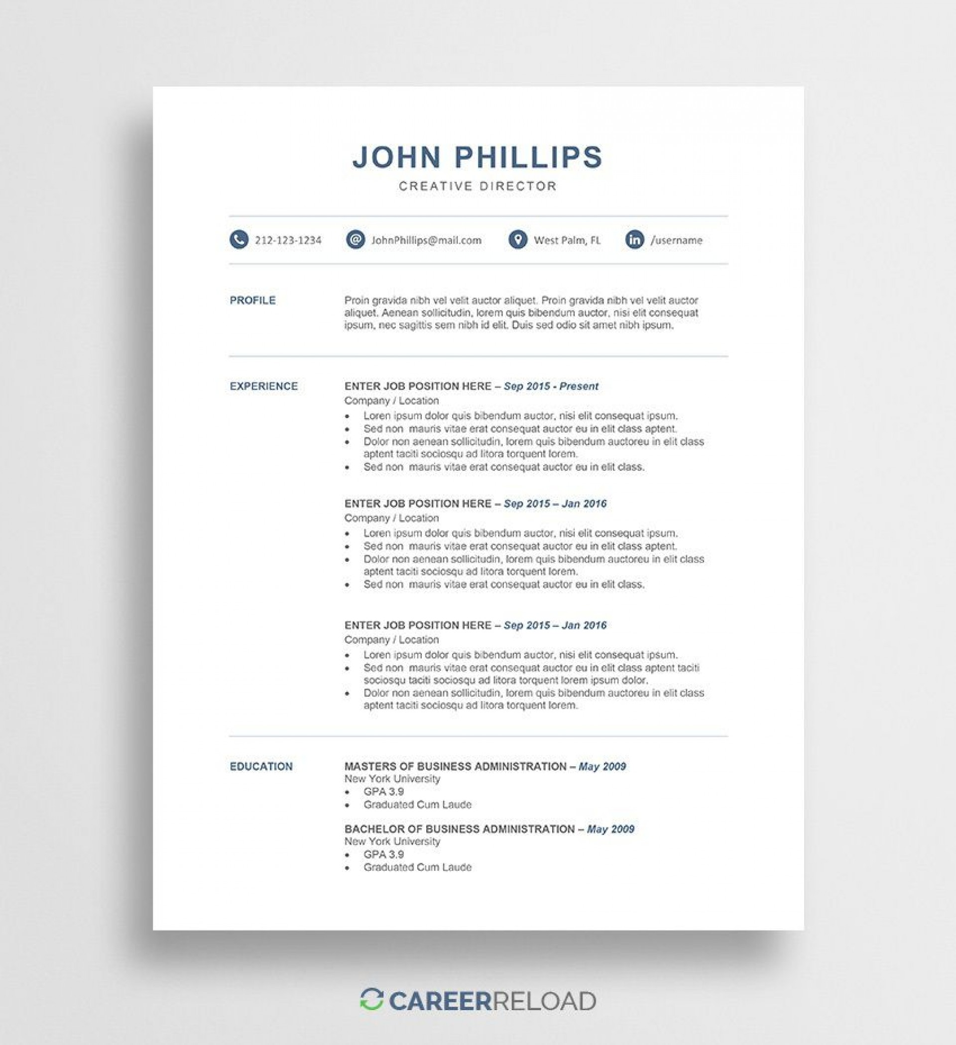 011 Marvelou Professional Resume Template Free Download Word Picture  Cv 2020 Format With Photo1920