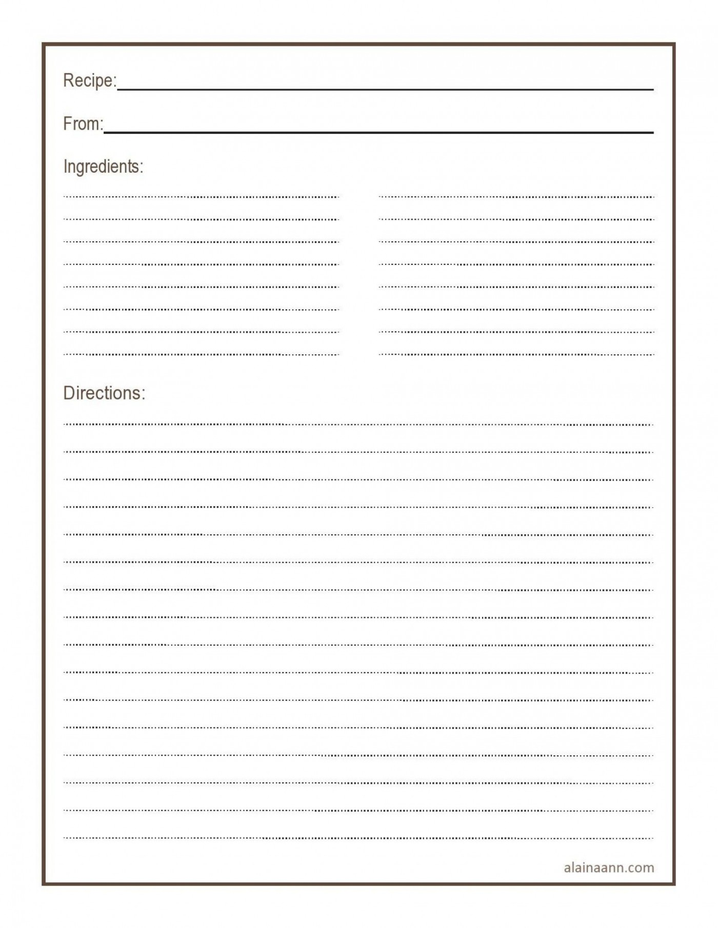 011 Simple Free 4x6 Recipe Card Template For Microsoft Word Highest Quality  Editable1400
