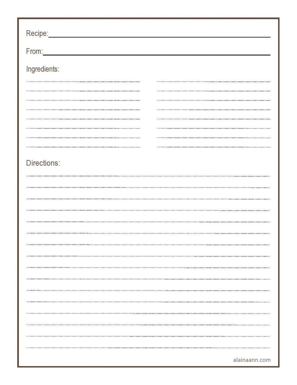 011 Simple Free 4x6 Recipe Card Template For Microsoft Word Highest Quality  Editable960