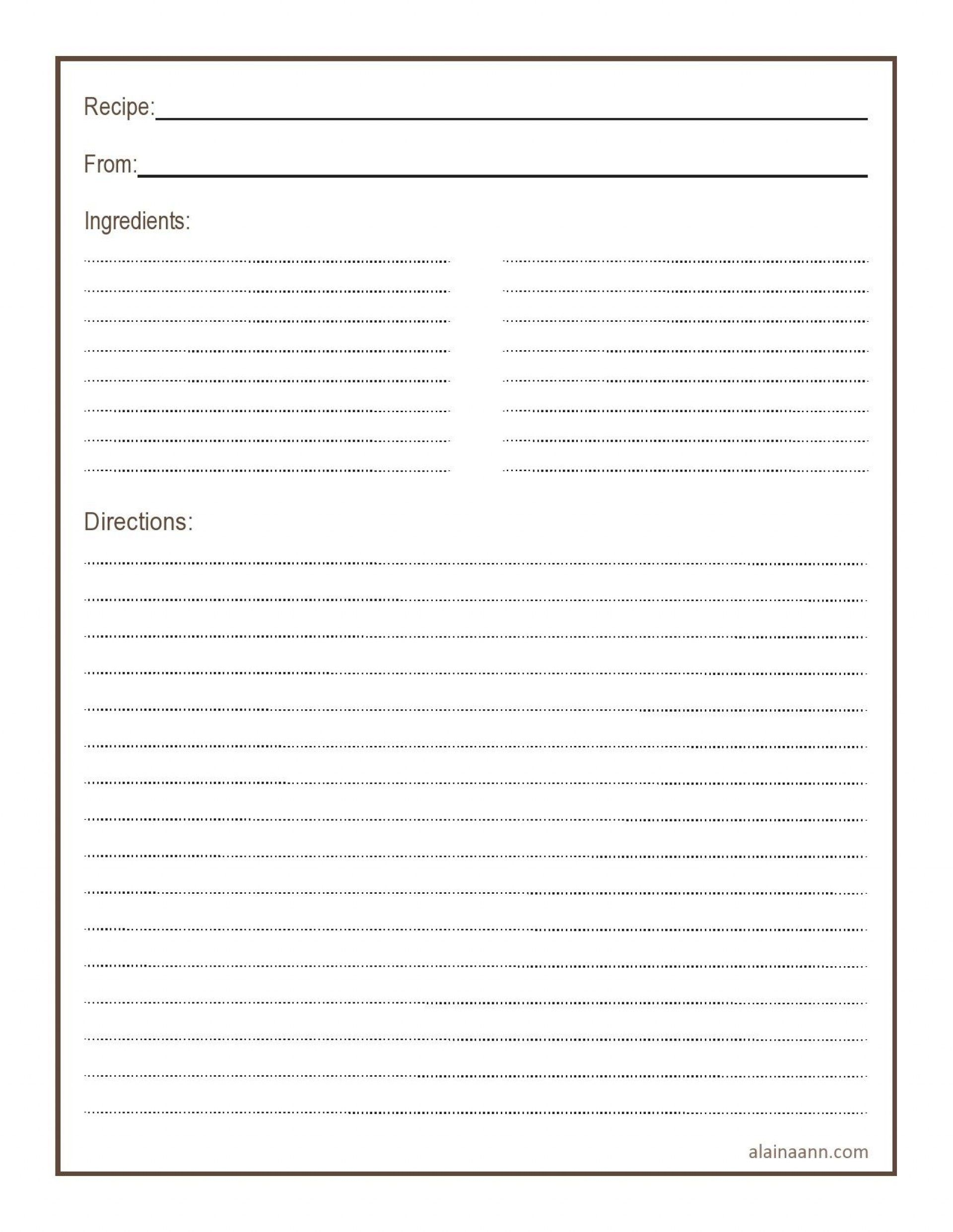 011 Simple Free 4x6 Recipe Card Template For Microsoft Word Highest Quality  EditableFull