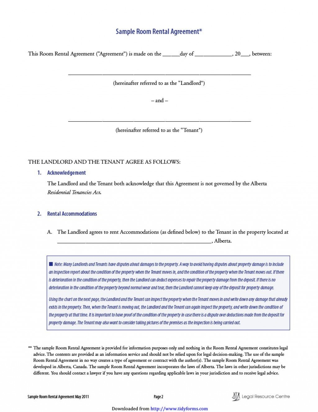 011 Simple Room Rental Agreement Template Alberta Sample Large