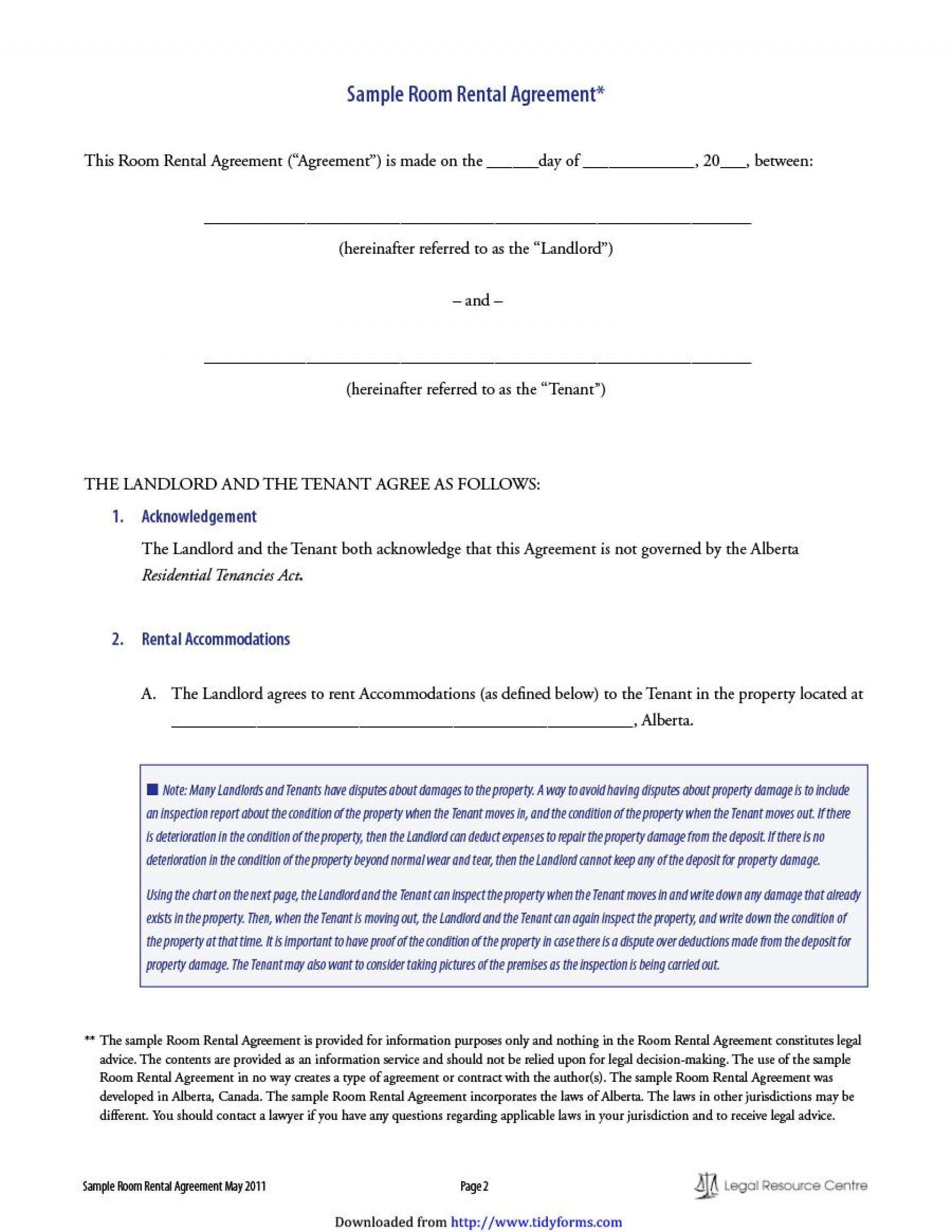 011 Simple Room Rental Agreement Template Alberta Sample 1920
