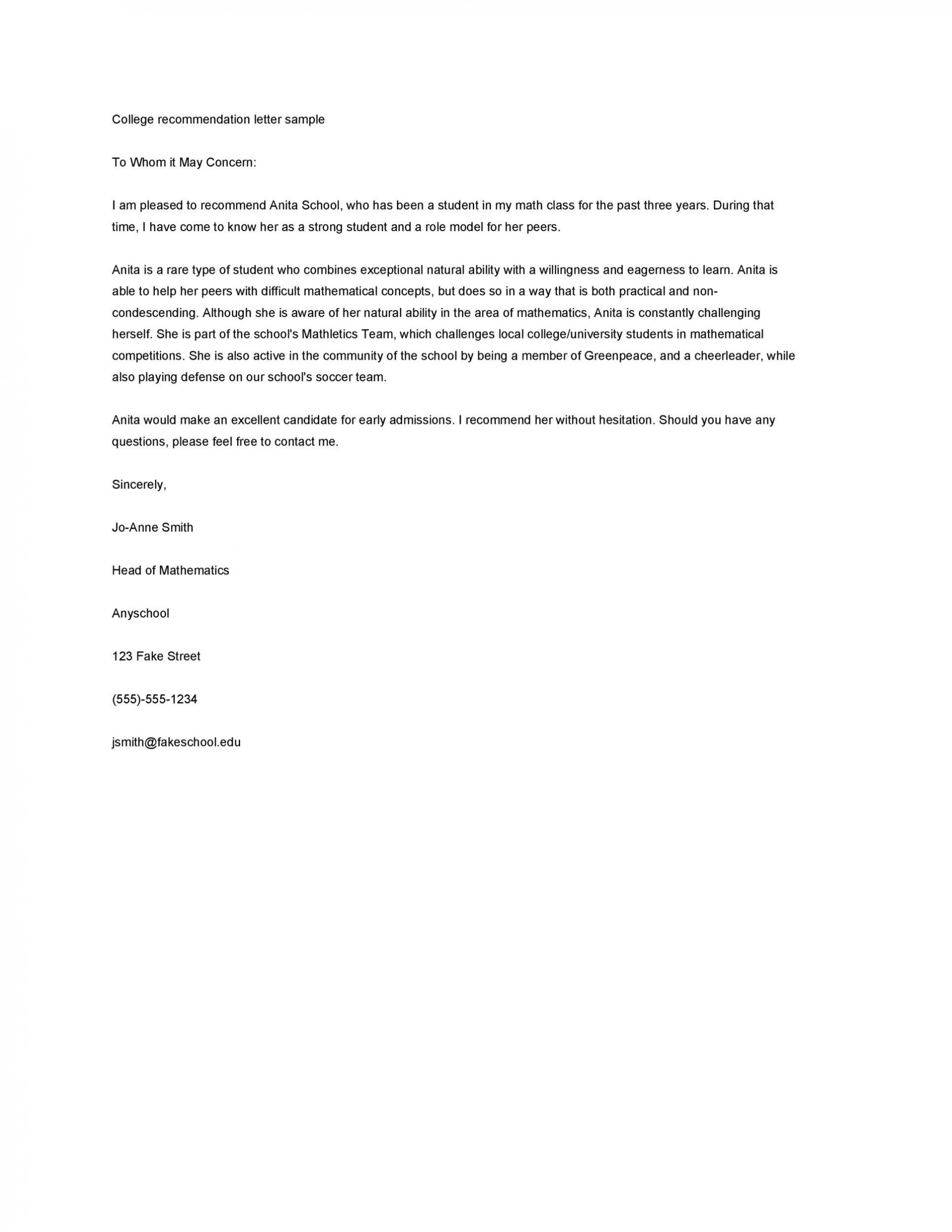 011 Staggering Letter Of Recommendation Template For College Student Image  Sample From Professor1920