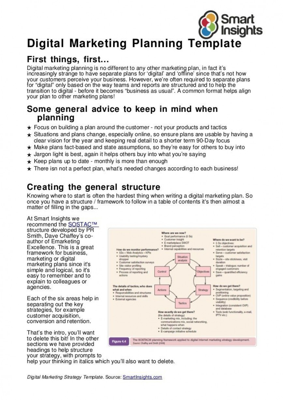 011 Stirring Digital Marketing Plan Example Doc Highest Clarity  Sample Template