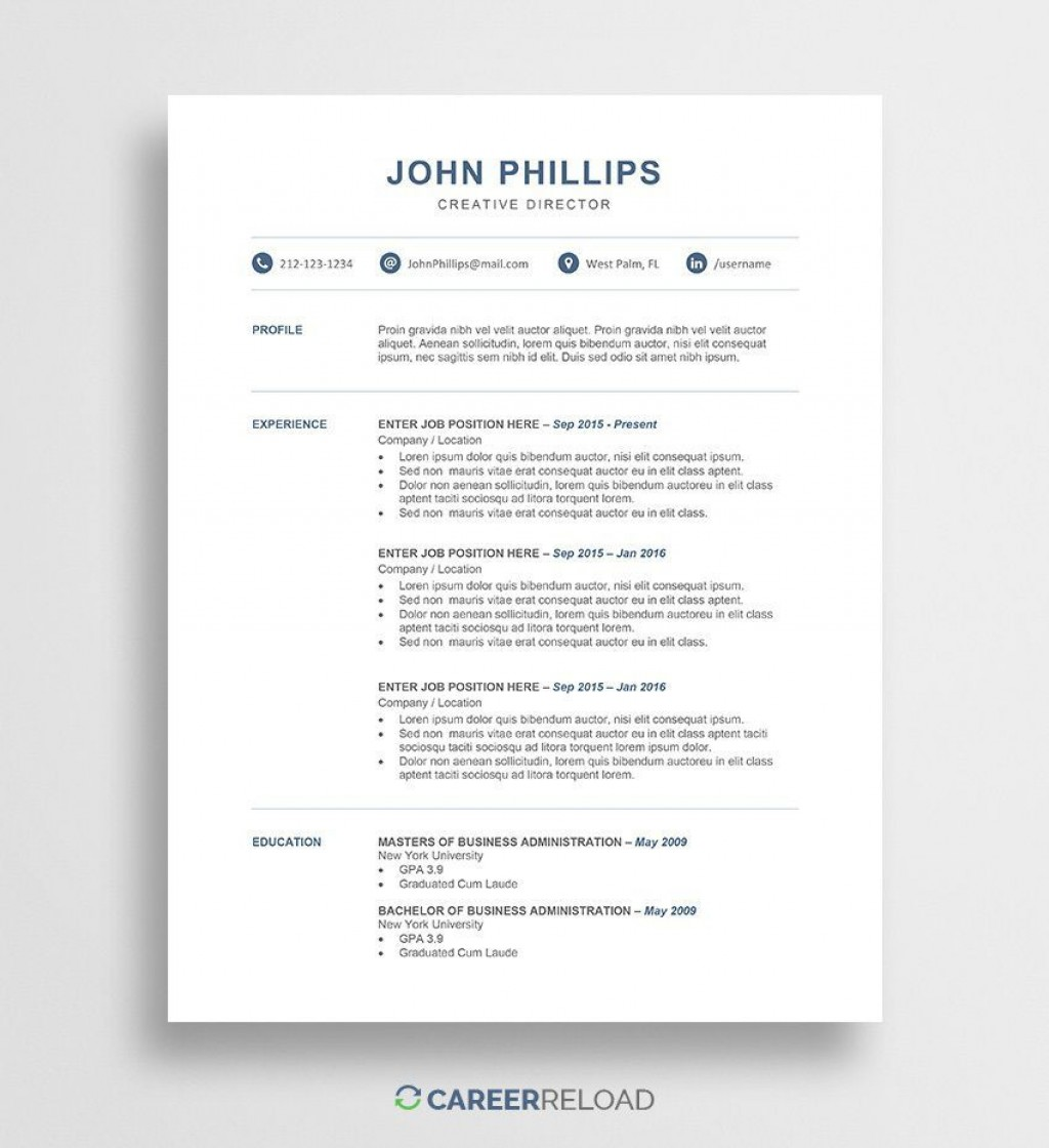 011 Top Download Resume Template Free Microsoft Word Example  2010 Attractive M Simple ForLarge
