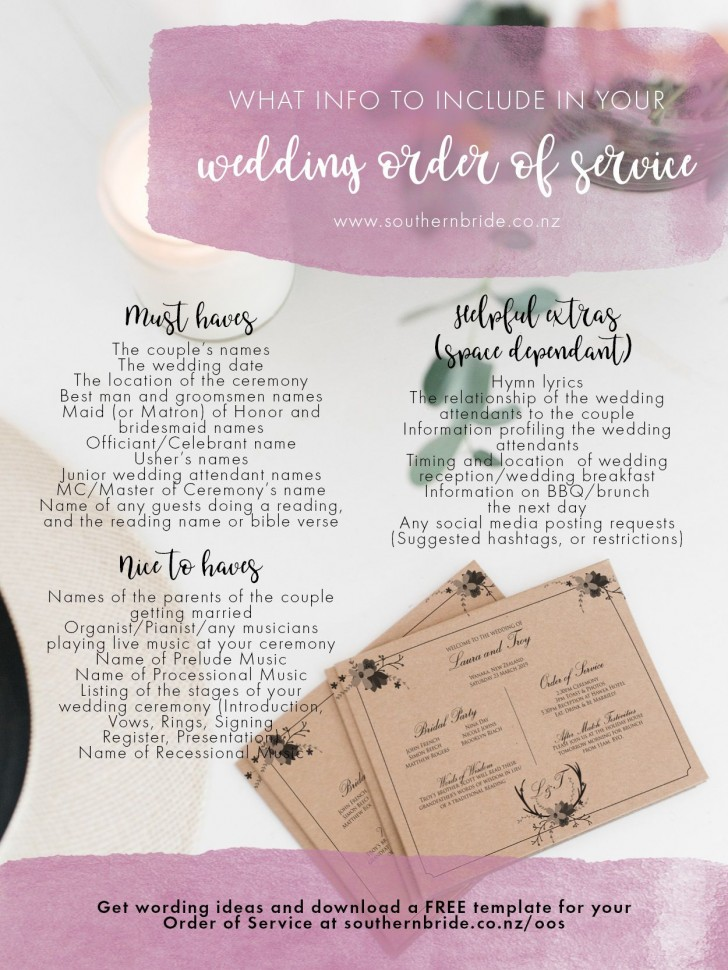 011 Unique Wedding Order Of Service Template Free Idea  Front Cover Download Church728