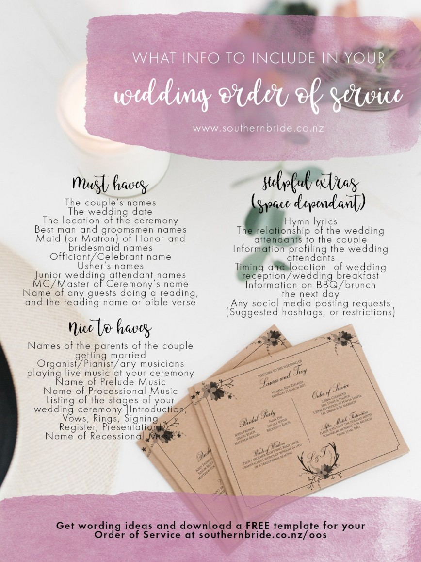 011 Unique Wedding Order Of Service Template Free Idea  Front Cover Download Church868