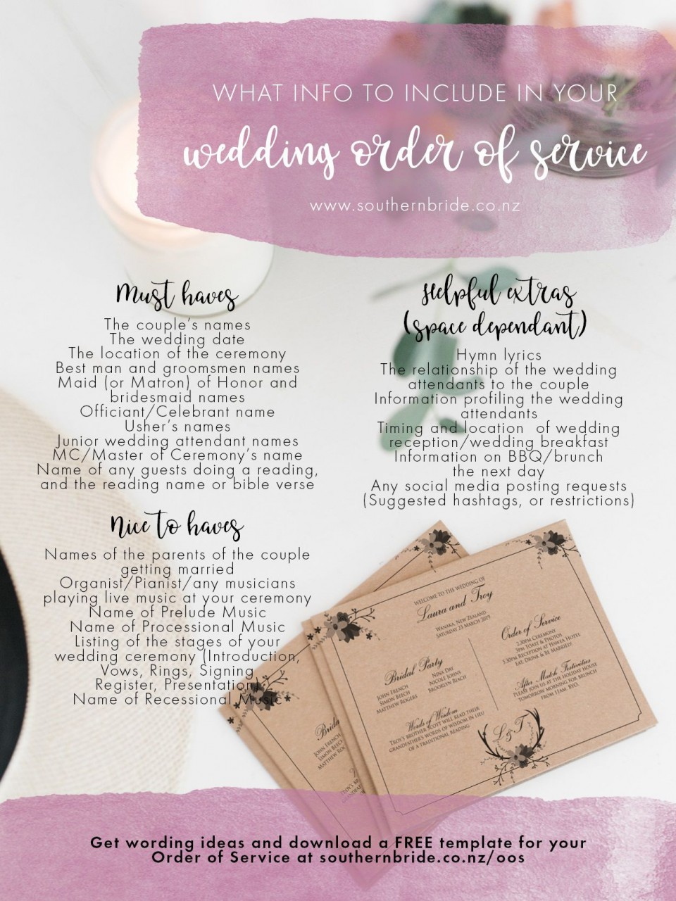 011 Unique Wedding Order Of Service Template Free Idea  Front Cover Download Church960