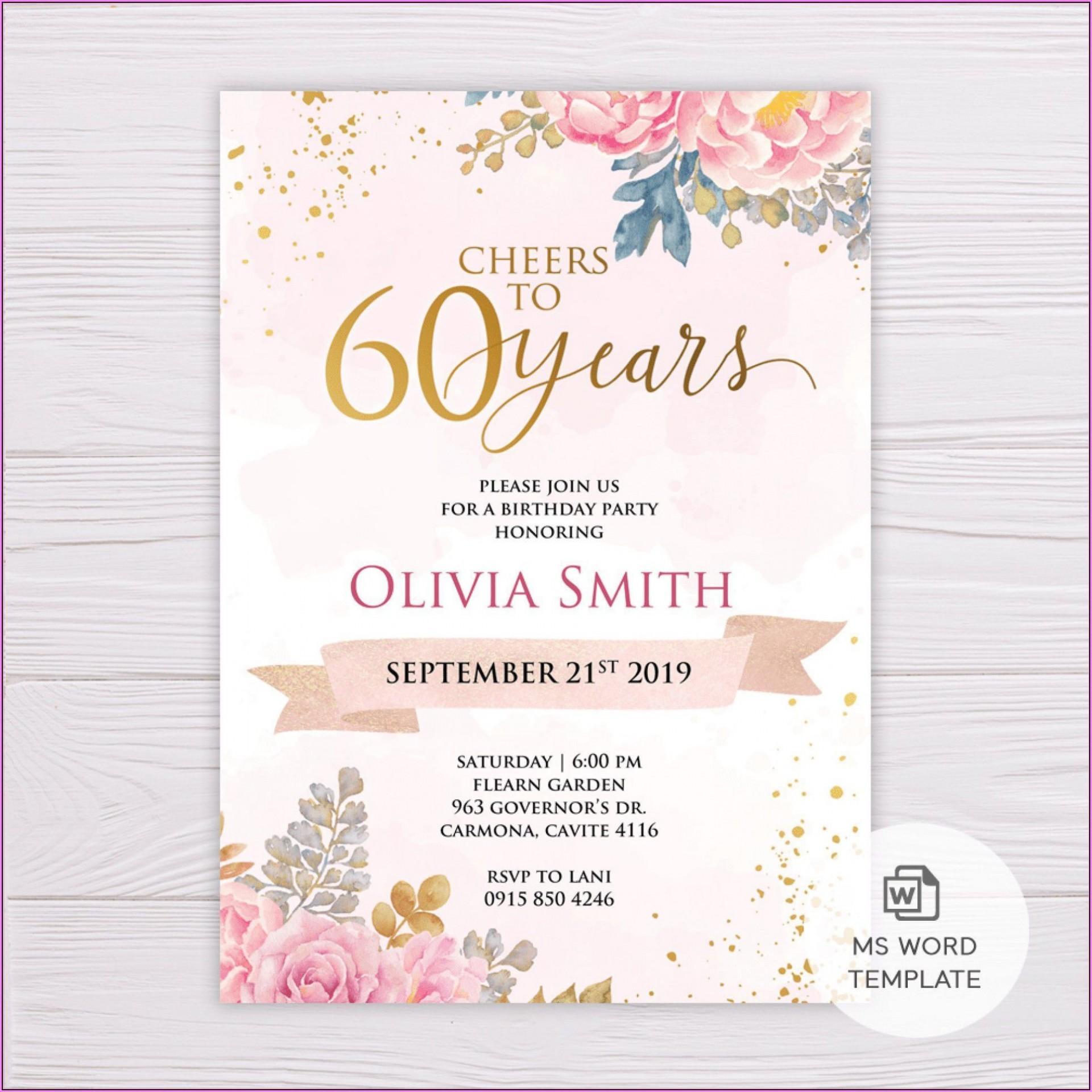 011 Wondrou 60 Birthday Invite Template High Definition  Templates 60th Printable Free1920
