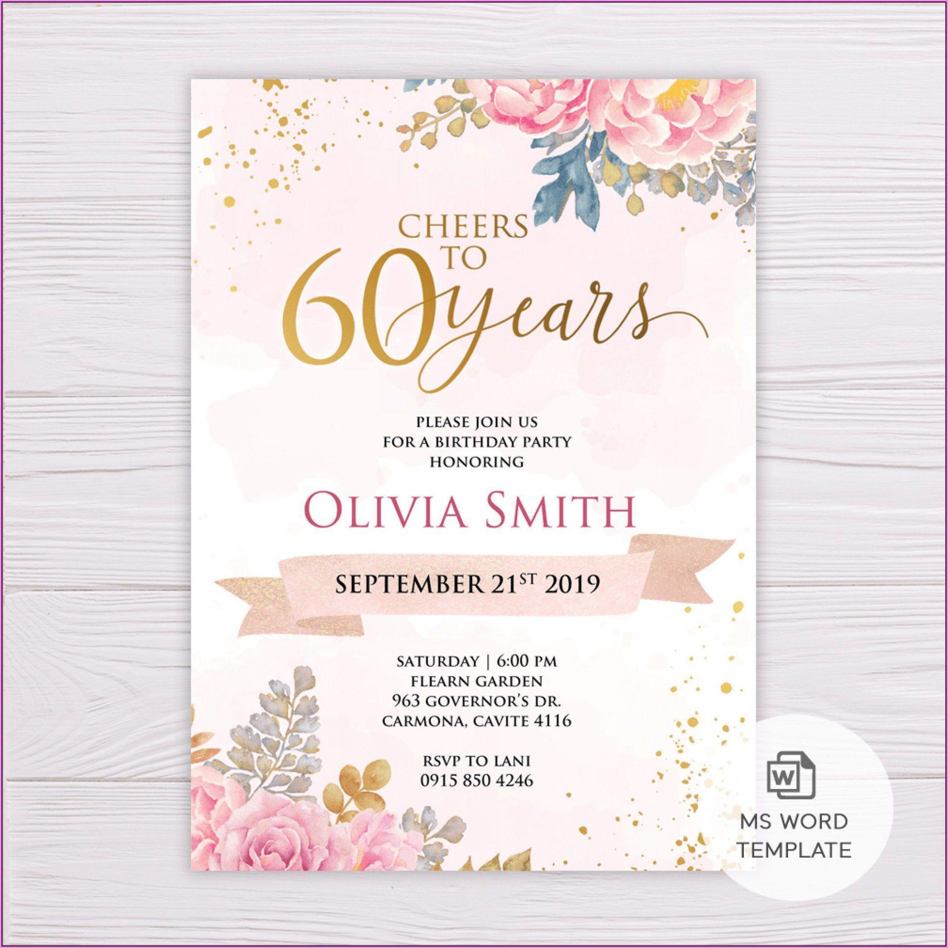 011 Wondrou 60 Birthday Invite Template High Definition  Templates 60th Printable FreeFull