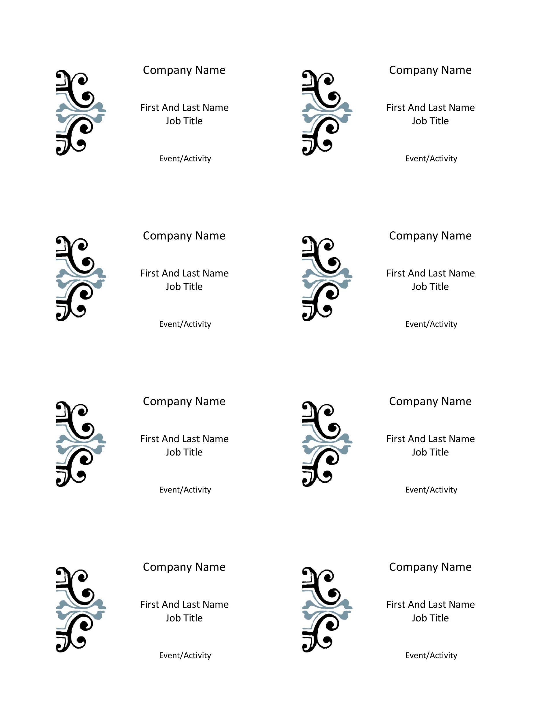 012 Dreaded Name Badge Template Word Concept  Free Download 2010 Avery 5392Full