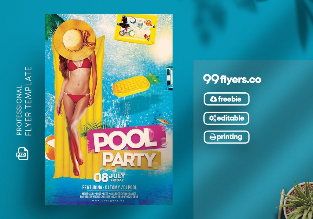 012 Outstanding Pool Party Flyer Template Free Sample  Photoshop PsdLarge