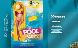 012 Outstanding Pool Party Flyer Template Free Sample  Photoshop Psd