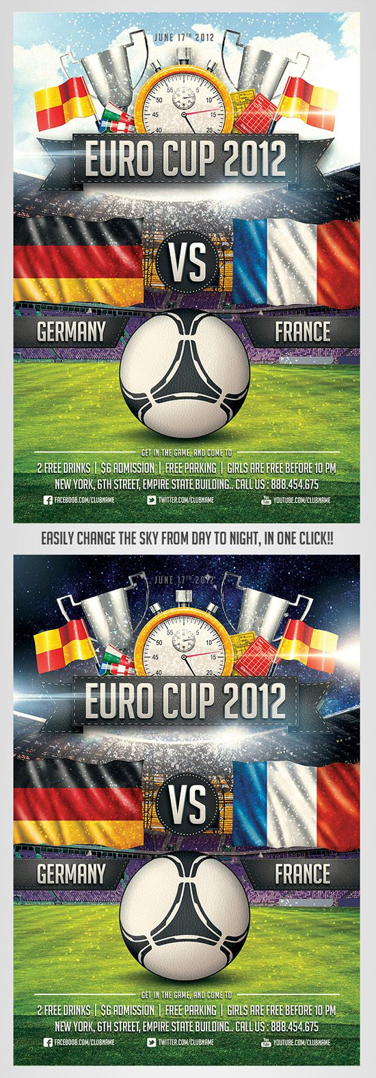 012 Shocking Football Flyer Template Free Sample  Download Flag PartyFull