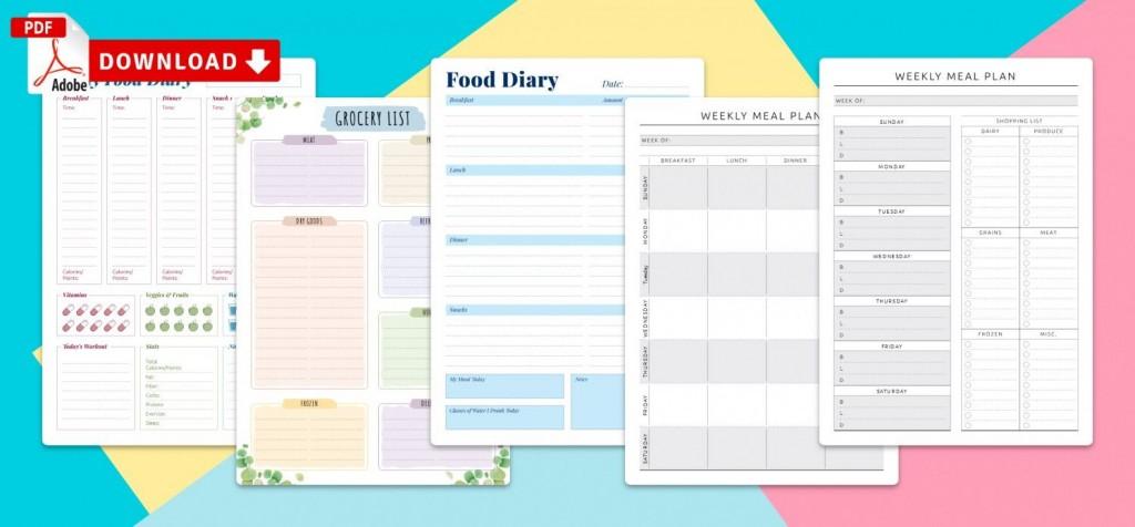 012 Top Meal Plan Calendar Template Sample  Excel Weekly 30 DayLarge