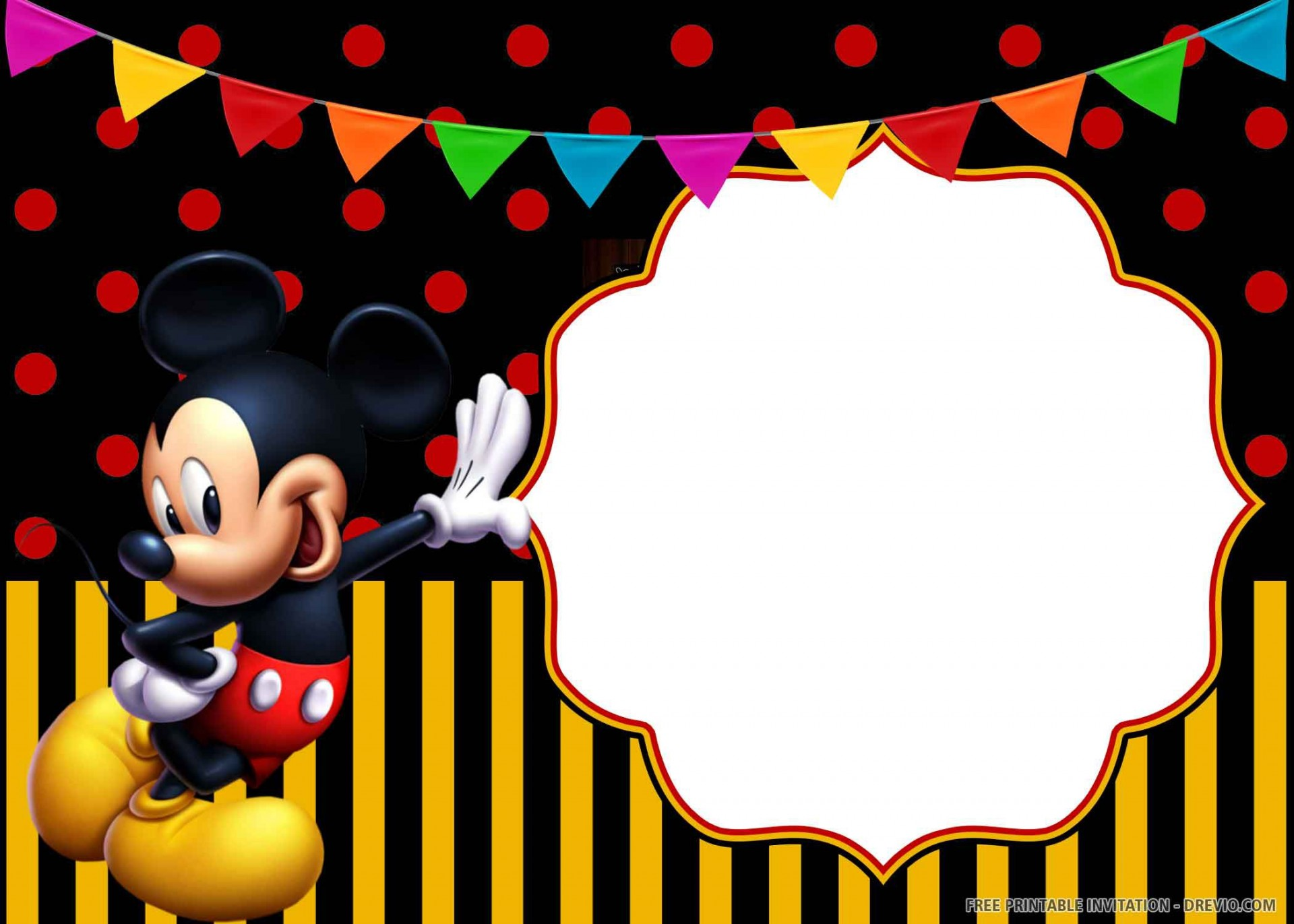012 Unforgettable Mickey Mouse Invitation Template Photo  Free Diy 1st Birthday Baby Download1920