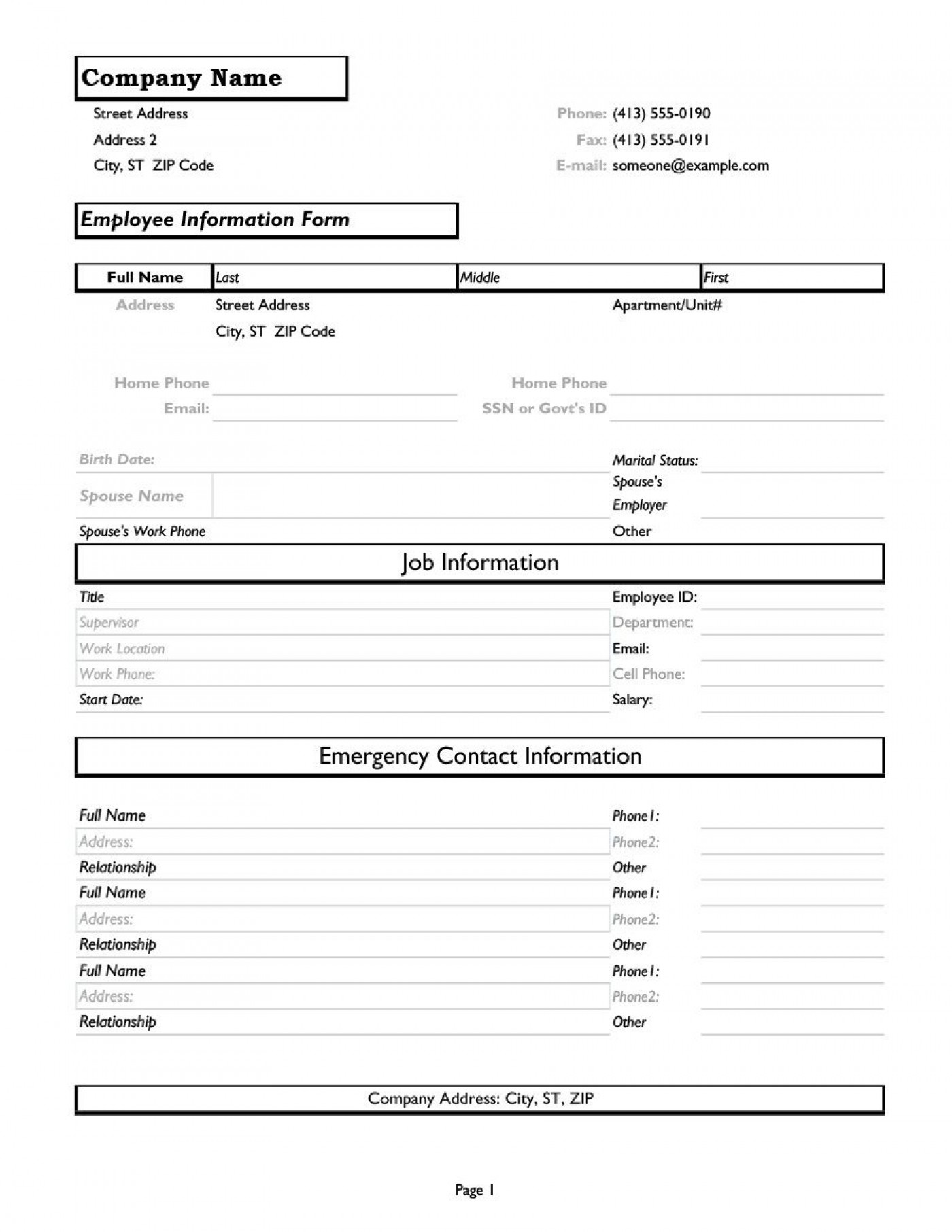 012 Unique Employee Personnel File Template Image  Checklist Request Form Release1400