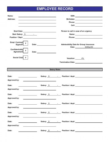 013 Beautiful Employee Personnel File Template High Definition  Uk Excel Form360