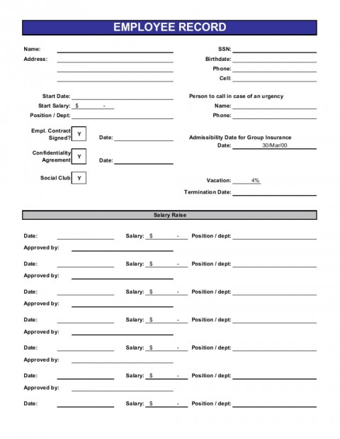 013 Beautiful Employee Personnel File Template High Definition  Uk Excel Form480