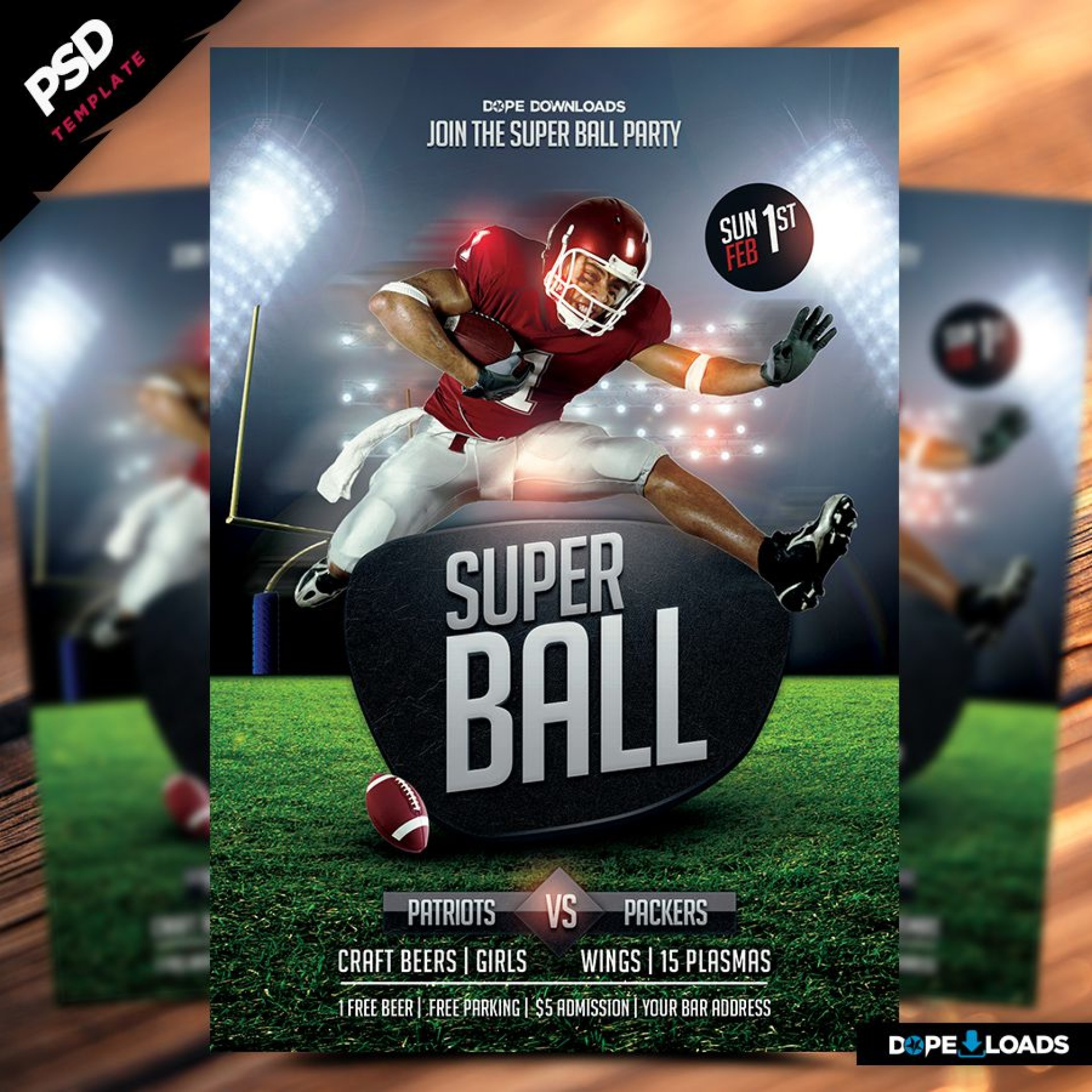 013 Dreaded Football Flyer Template Free Photo  Download Flag Party1920