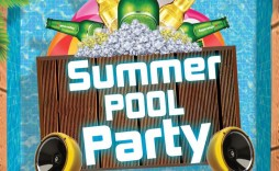 013 Simple Pool Party Flyer Template Free Sample  Photoshop Psd