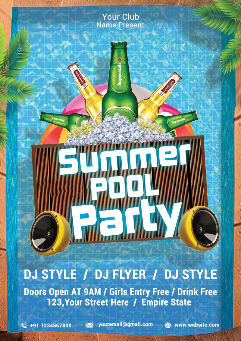 013 Simple Pool Party Flyer Template Free Sample  Photoshop PsdFull