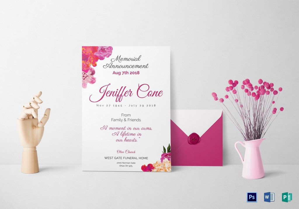 013 Singular Funeral Invitation Template Free Picture  Memorial Service Card ReceptionLarge