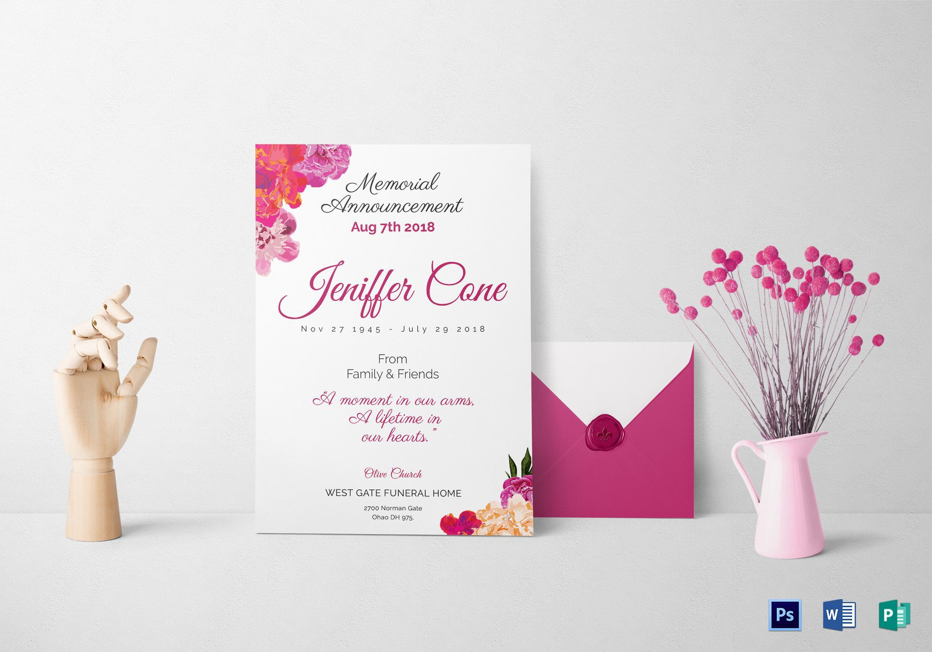 013 Singular Funeral Invitation Template Free Picture  Memorial Service Card ReceptionFull